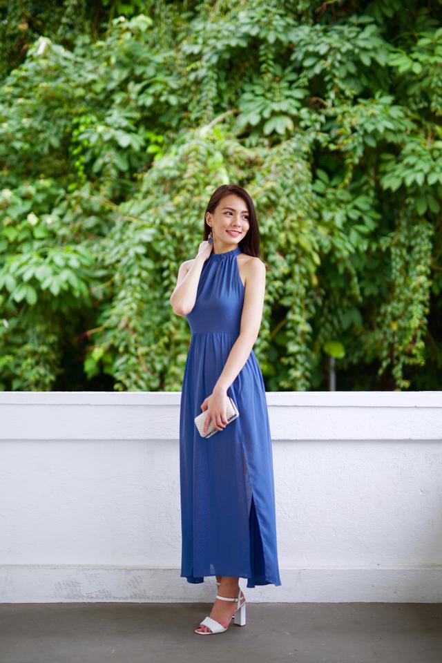 Penelope High Neck Maxi Dress in Steel Blue