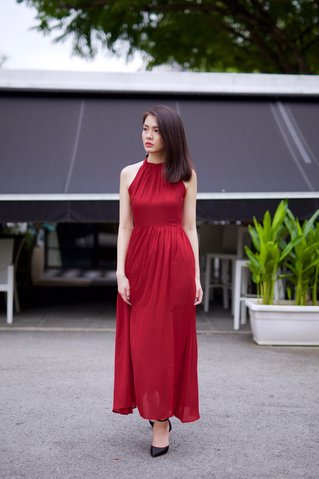 Penelope High Neck Maxi Dress in Wine Red