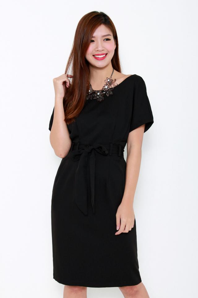 Erin Wide Neck Shoulder Dress in Black