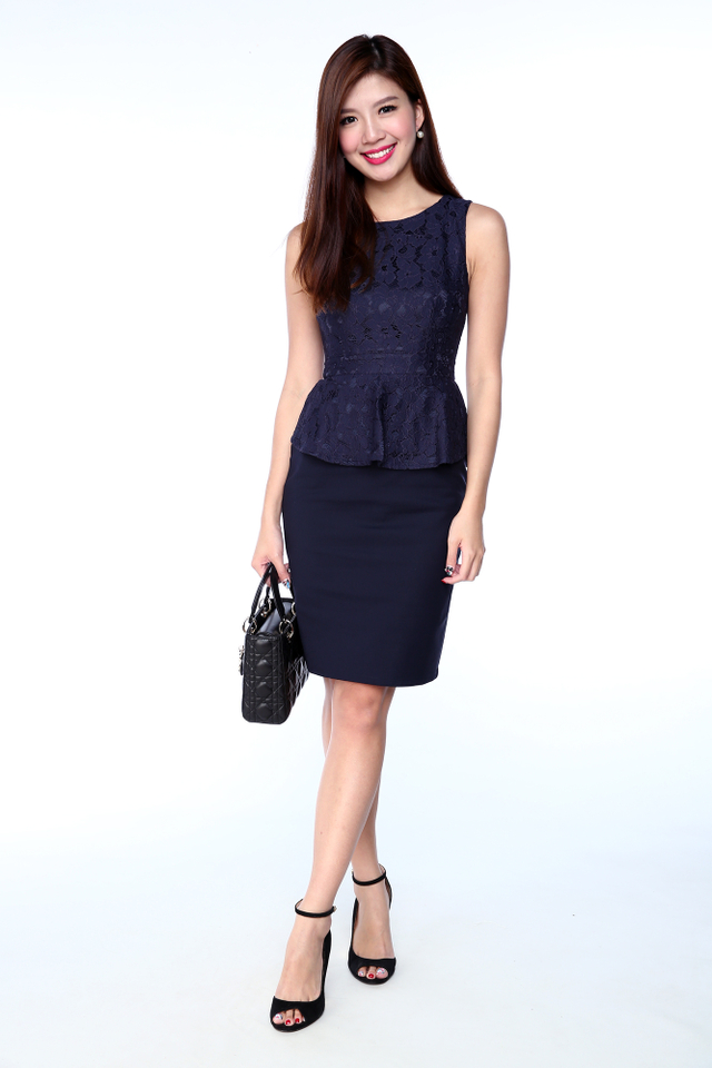 Lisette Lace Top Peplum Dress in Navy