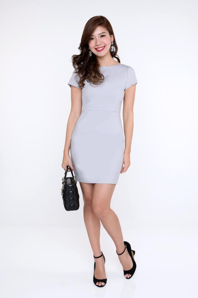 Kelly Scoop Back Pencil Work Dress in Light Grey