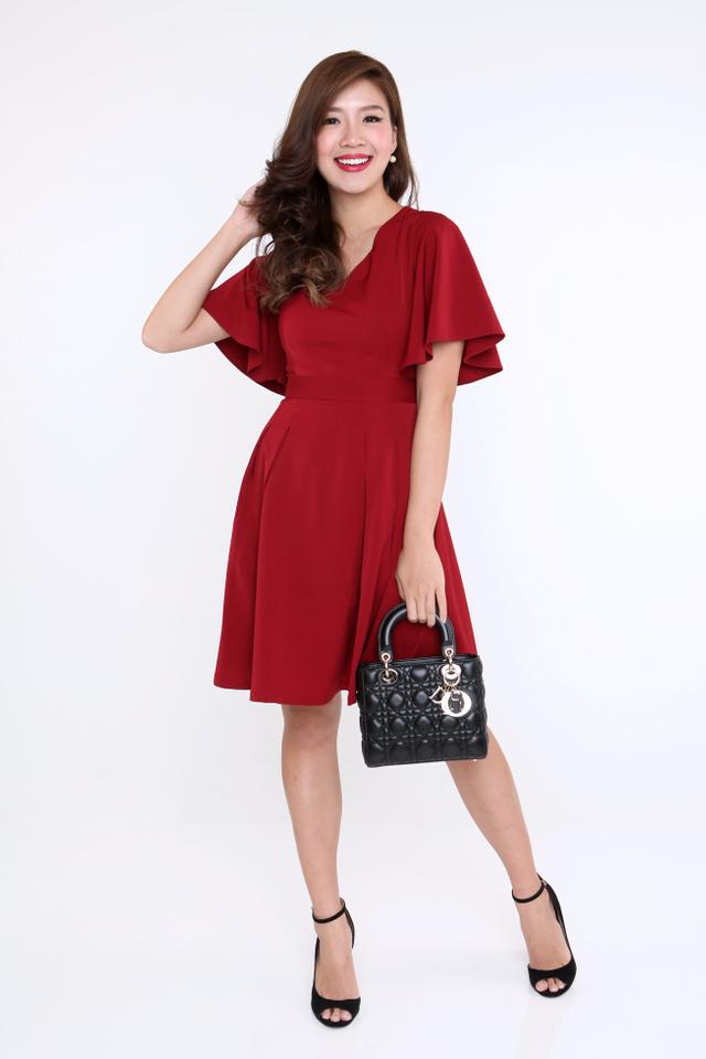 Flutter Sleeves Dress in Wine Red