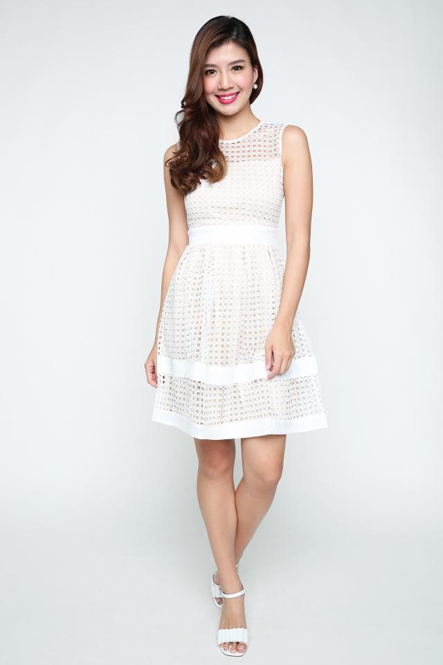Hannah Crochet Dress in Cream White