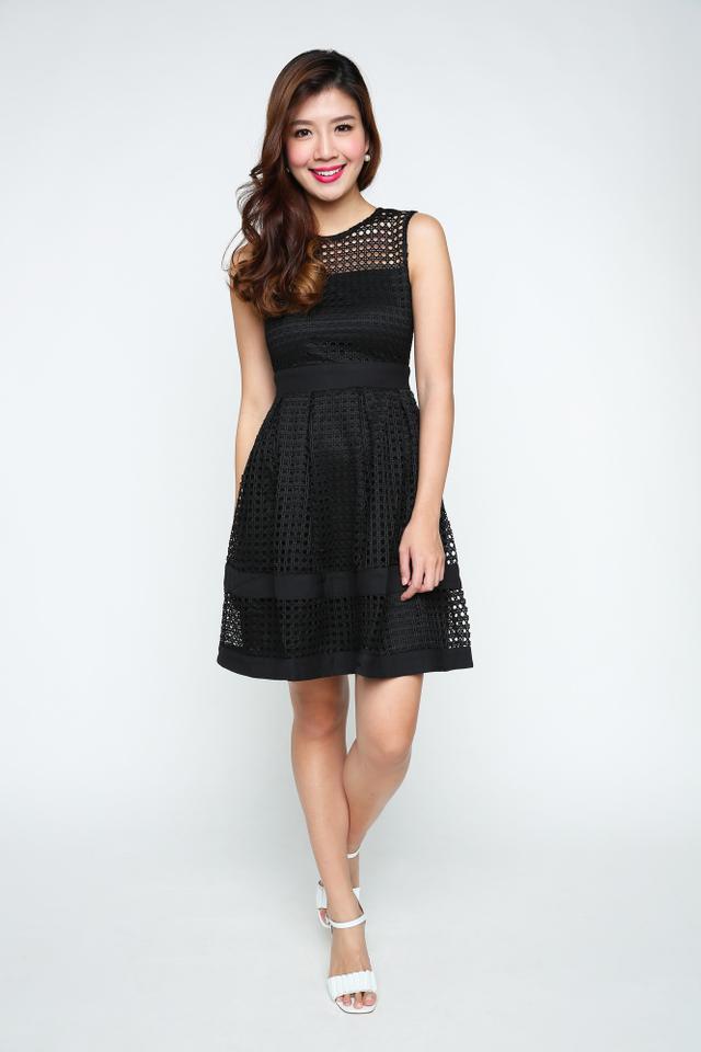 Hannah Crochet Dress in Black