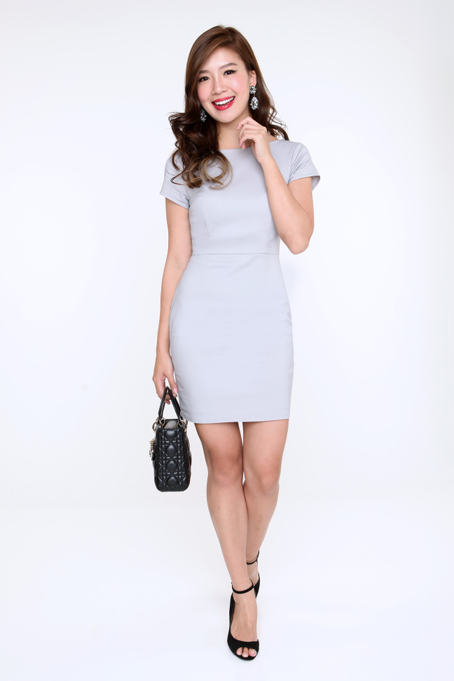 Kelly Scoop Back Pencil Work Dress in Light Grey