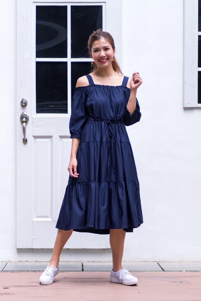 Harper Drop-Shoulder Maxi Dress in Navy
