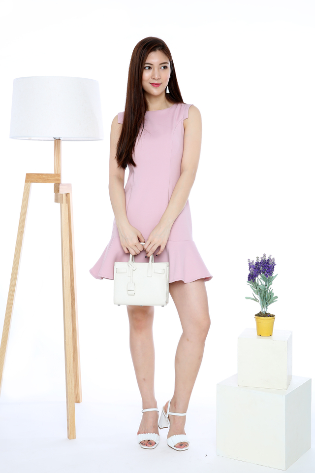 Taylor Angular Sleeves Dress in Pink