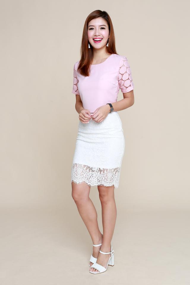 Bridgette Crochet Cropped Top in Pink