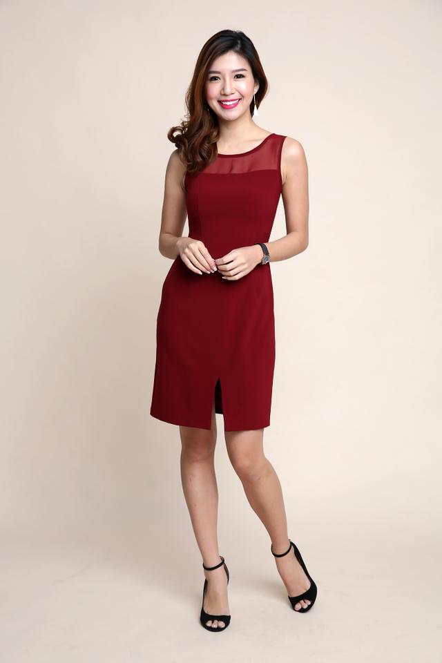 Lauryn Chiffon Neckline Dress in Wine Red