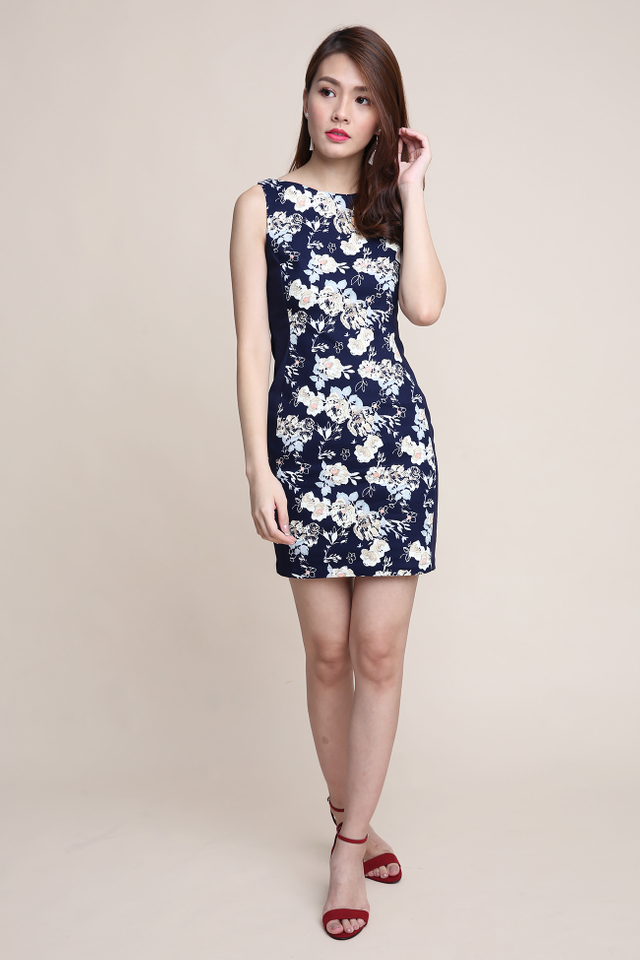 Colette Side Panel Dress in Floral Abstract