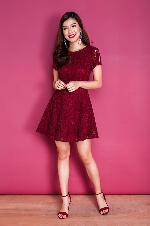 Lace Devotion Dress in Wine Red