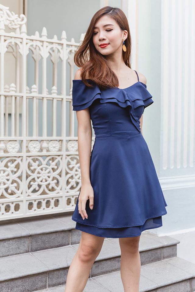 Elsa Flutter Two-Way Dress in Solid Navy