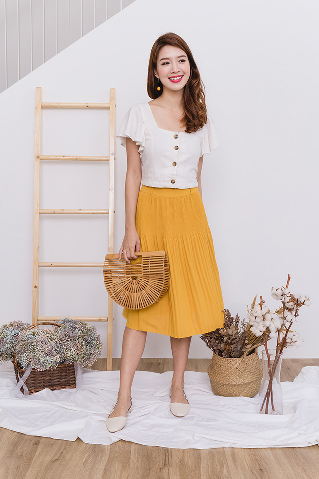 Sweet Treats Paperbag Pleated Midi Skirt in Mustard
