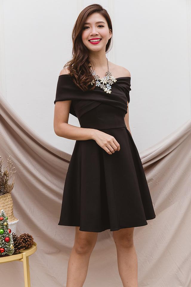 Azalea Cross Shoulders Dress in Black