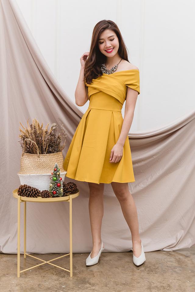 Azalea Cross Shoulders Dress in Mustard