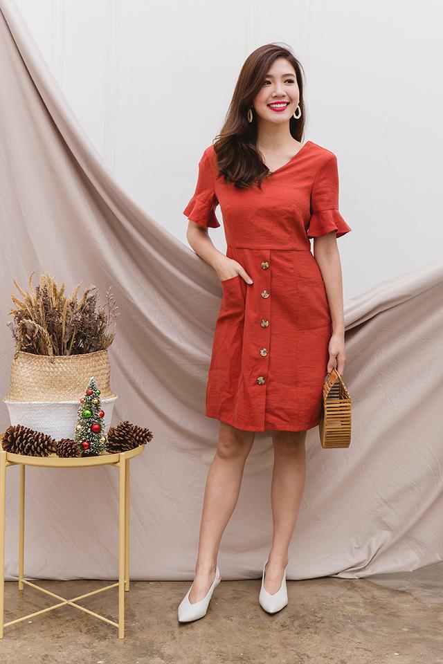 Val Ruffled Sleeves Dress in Scarlet Red