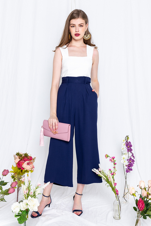 Over the Horizon Jumpsuit in White Navy
