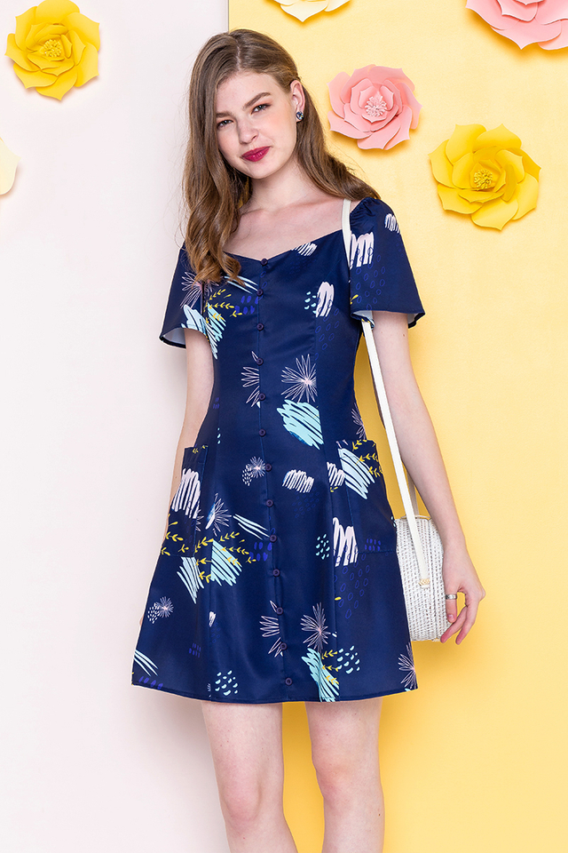 Tuileries Buttons Dress in Midnight Blue