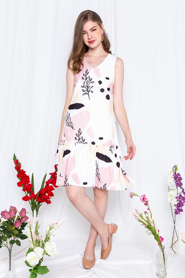 Summer Foliage Dropwaist Dress in Pink Beige