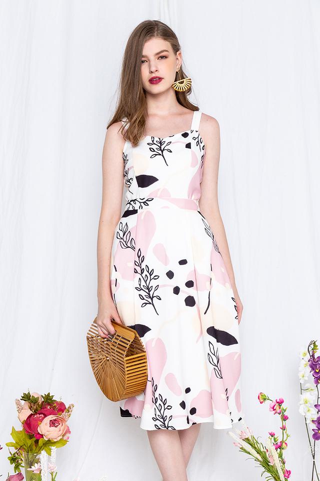 Summer Foliage Sweetheart Dress in Pink Beige