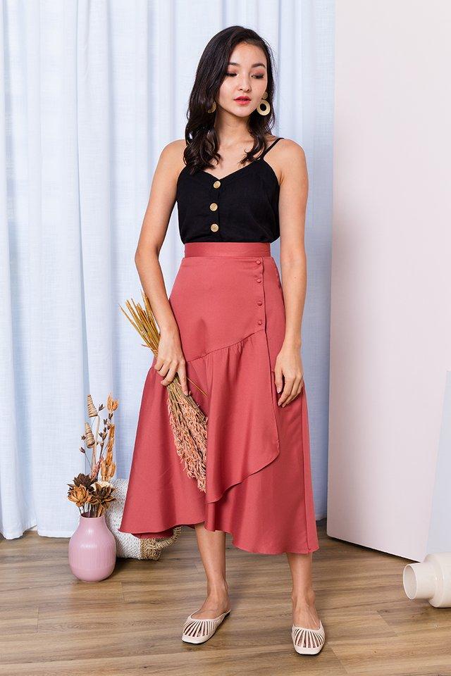 Ariel Asymmetrical Buttons Skirt in Rust