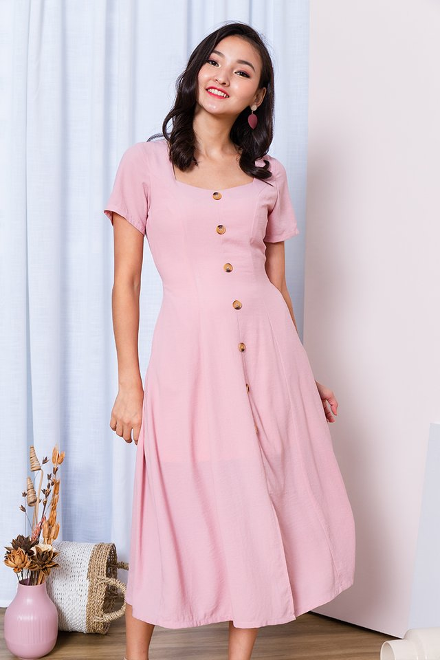 *COLOUR EXCLUSIVE* Carly Buttons Dress in Pink