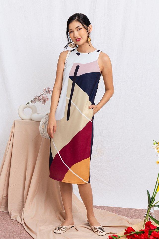 Art Deco Abstract Midi Dress in Fall Neutrals