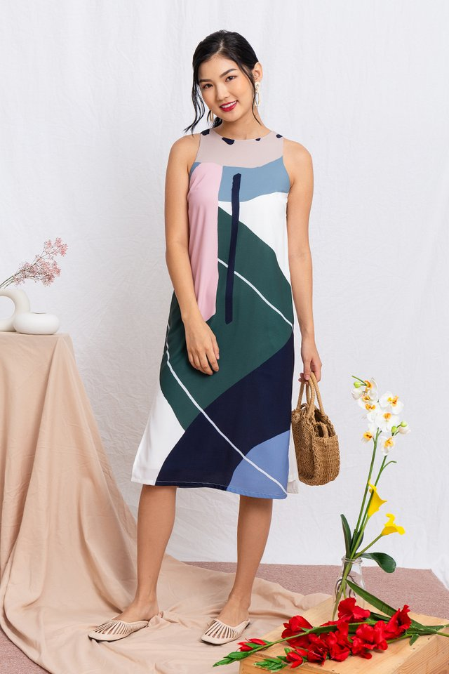 Art Deco Abstract Midi Dress in Spring Tones