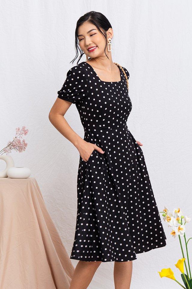 Timeless Tale Polka Dot Midi Dress in Black