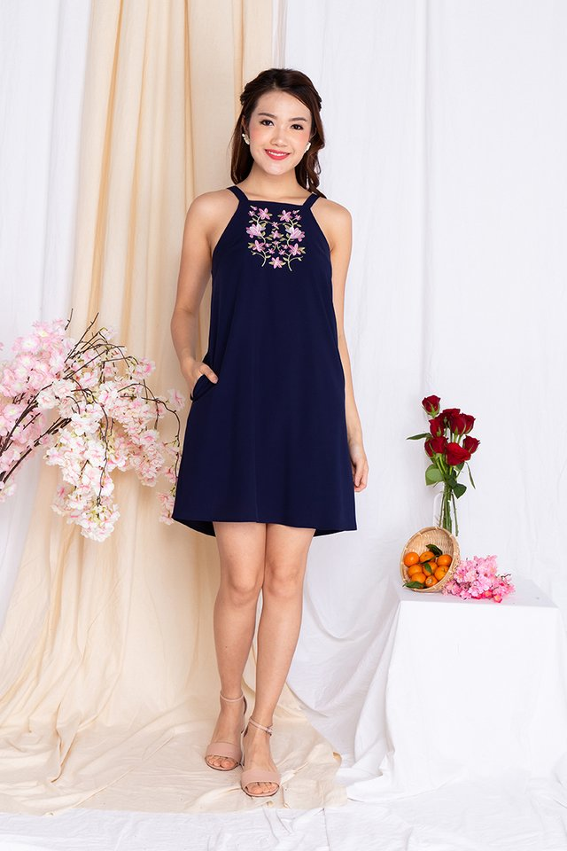 Bellerose Embroidery Dress in Navy