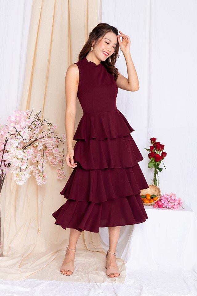 Cupcake Layered Ruffles Midi Dress in Deep Wine