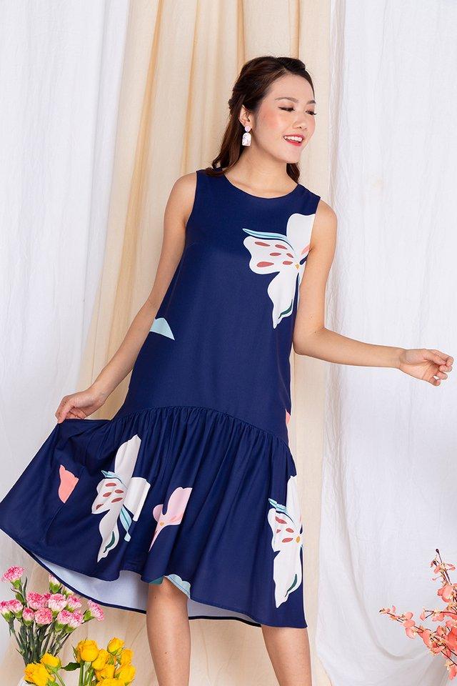 Harmony Drop-Hem Midi Dress in Navy