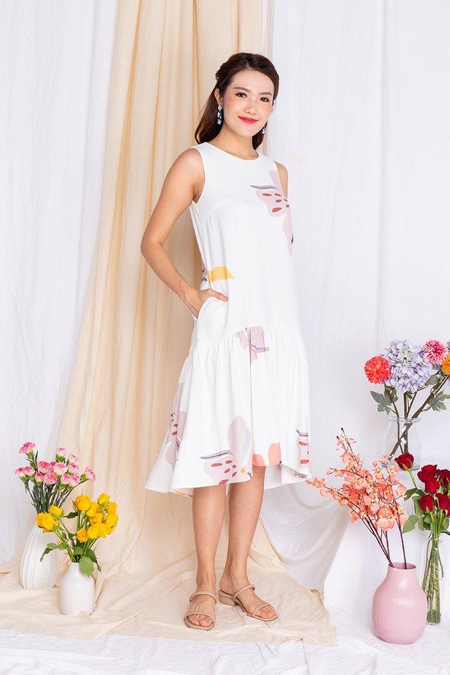 Harmony Drop-Hem Midi Dress in Pearl White