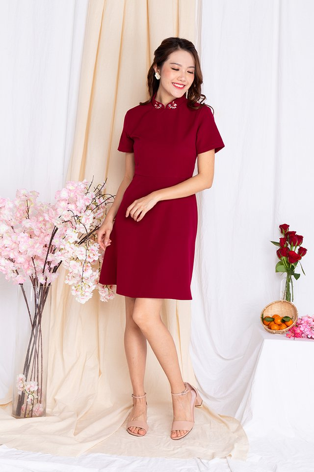 Lucky Charm Goldfish Fit and Flare Dress in Red