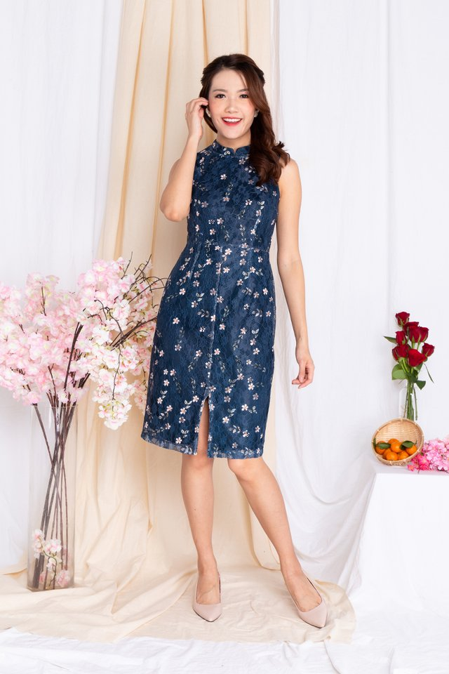 Whispers of Blossoms Lace Dress in Navy