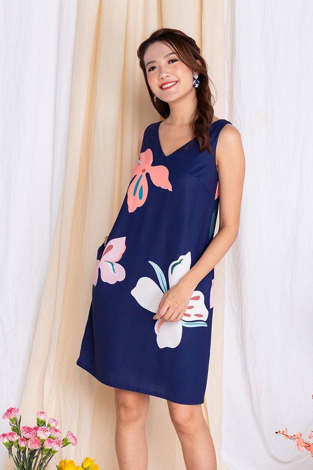 Harmony Sleeveless Dress in Navy