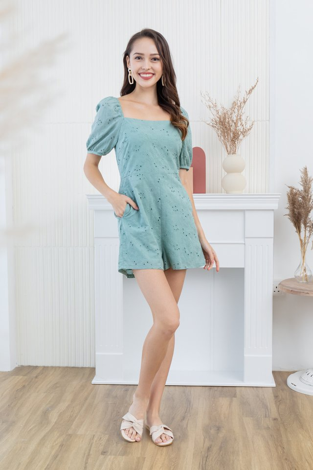 Anita Embroidery Eyelet Romper in Green