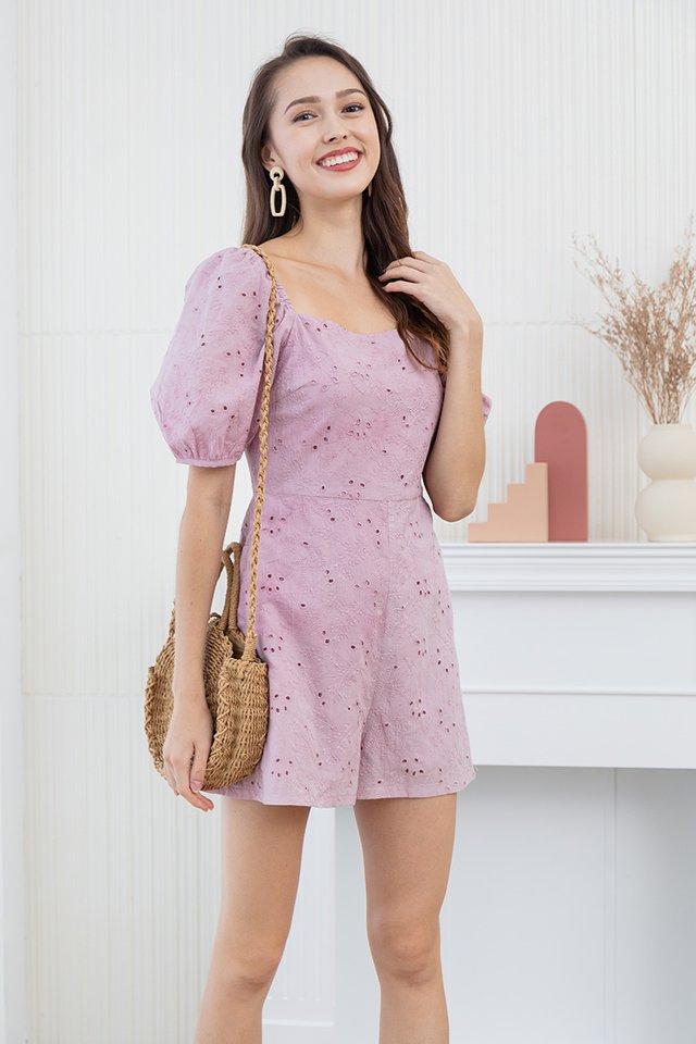 Anita Embroidery Eyelet Romper in Pink
