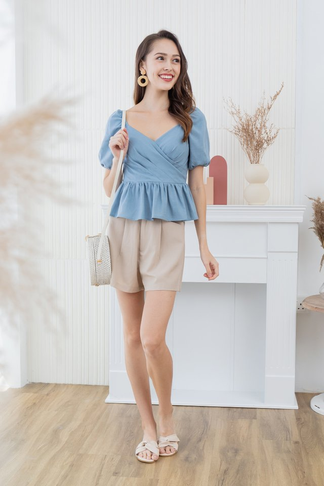 Paige Peplum Top in Blue