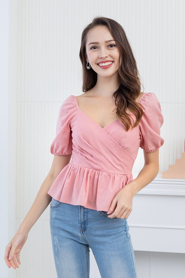 Paige Peplum Top in Pink