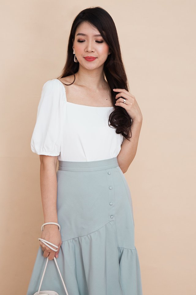 Thea Puff Sleeve Top in White