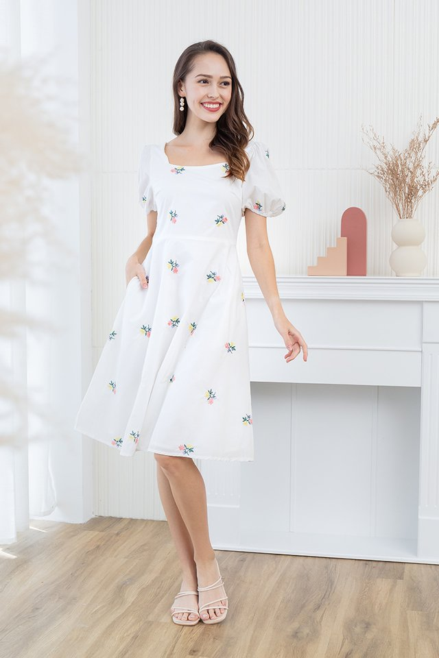 Lindsey Embroidery Dress in White