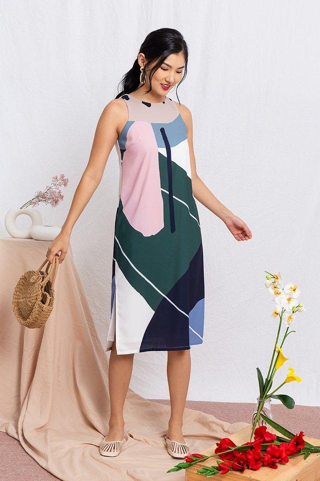 Art Deco Abstract Midi Dress in Spring Tones