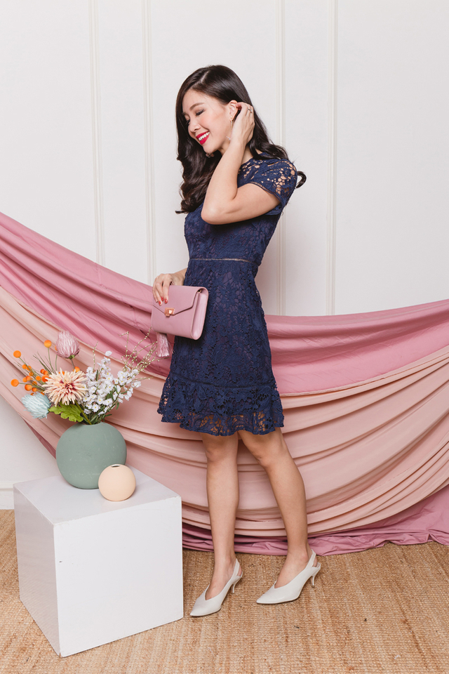 Brimming with Happiness Crochet Dress in Navy