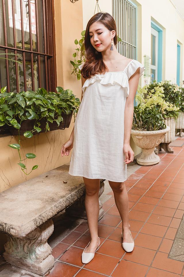 Delilah Linen Dress in Cream White