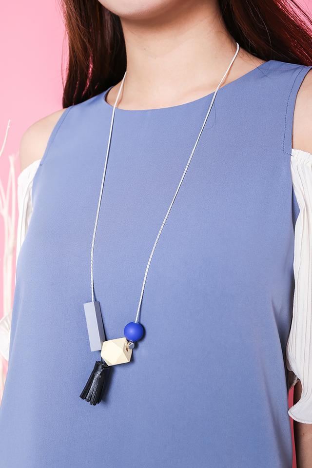 Eden Tassel Charmed Necklace in Black