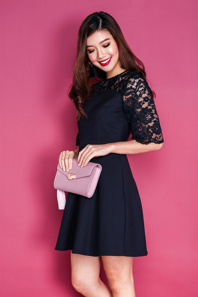 Eloise Lace Bell Sleeves Dress in Navy