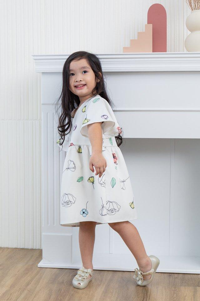 Euphoria Girls Dress in Cream