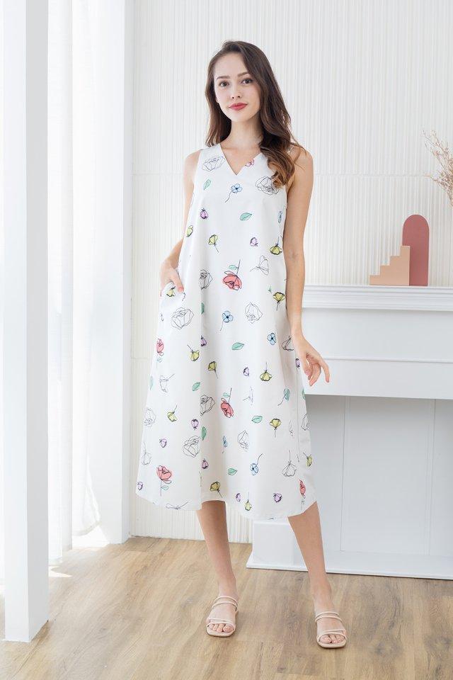 Euphoria V-Neck Tent Dress in Cream