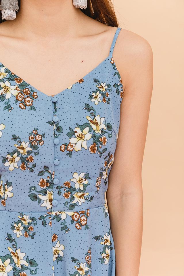 Floral Picks Buttons Romper in Cornflower Blue